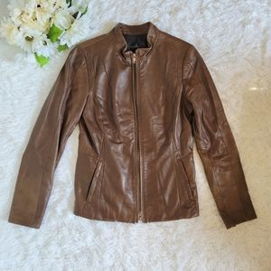 Danier Size Small Brown Leather Jacket Full Zip Lightweight Soft Classic EUC
